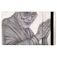 Dalai Lama Tenzin Gaytso Pencil Drawing Apple Ipad 2 Flip Case by KentChua