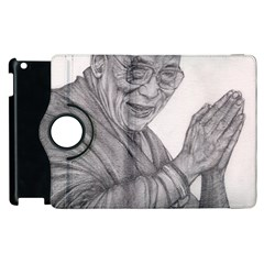 Dalai Lama Tenzin Gaytso Pencil Drawing Apple Ipad 2 Flip 360 Case by KentChua