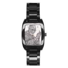 Dalai Lama Tenzin Gaytso Pencil Drawing Stainless Steel Barrel Watch by KentChua