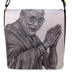 Dalai Lama Tenzin Gaytso Pencil Drawing Flap Messenger Bag (s) by KentChua