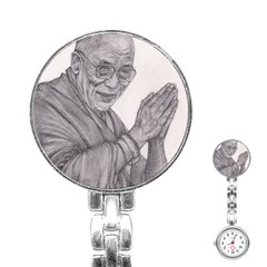 Dalai Lama Tenzin Gaytso Pencil Drawing Stainless Steel Nurses Watches by KentChua