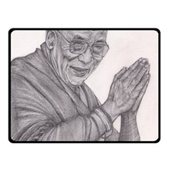 Dalai Lama Tenzin Gaytso Pencil Drawing Double Sided Fleece Blanket (small)  by KentChua