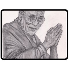 Dalai Lama Tenzin Gaytso Pencil Drawing Double Sided Fleece Blanket (large)  by KentChua