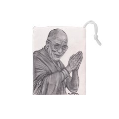 Dalai Lama Tenzin Gaytso Pencil Drawing Drawstring Pouches (small)  by KentChua
