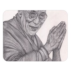 Dalai Lama Tenzin Gaytso Pencil Drawing Double Sided Flano Blanket (large)  by KentChua