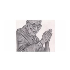 Dalai Lama Tenzin Gaytso Pencil Drawing Satin Wrap by KentChua