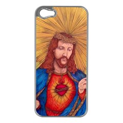 Sacred Heart Of Jesus Christ Drawing Apple Iphone 5 Case (silver) by KentChua