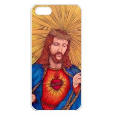Sacred Heart Of Jesus Christ Drawing Apple Iphone 5 Seamless Case (white) by KentChua