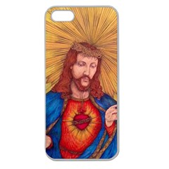 Sacred Heart Of Jesus Christ Drawing Apple Seamless Iphone 5 Case (clear) by KentChua