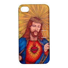 Sacred Heart Of Jesus Christ Drawing Apple Iphone 4/4s Hardshell Case With Stand by KentChua