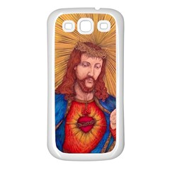 Sacred Heart Of Jesus Christ Drawing Samsung Galaxy S3 Back Case (white) by KentChua