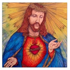 Sacred Heart Of Jesus Christ Drawing Large Satin Scarf (square) by KentChua