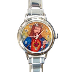 Sacred Heart Of Jesus Christ Drawing Round Italian Charm Watches by KentChua