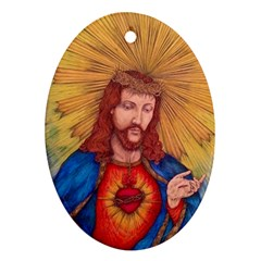 Sacred Heart Of Jesus Christ Drawing Ornament (oval)  by KentChua