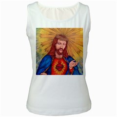 Sacred Heart Of Jesus Christ Drawing Women s Tank Tops by KentChua