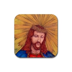 Sacred Heart Of Jesus Christ Drawing Rubber Coaster (square)  by KentChua