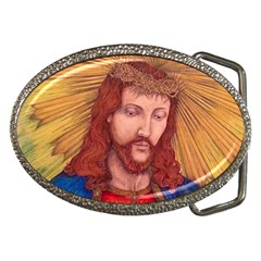 Sacred Heart Of Jesus Christ Drawing Belt Buckles by KentChua