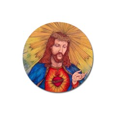 Sacred Heart Of Jesus Christ Drawing Magnet 3  (round) by KentChua