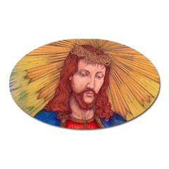 Sacred Heart Of Jesus Christ Drawing Oval Magnet by KentChua