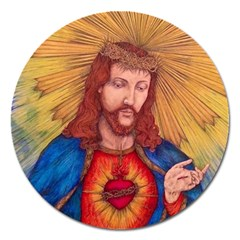 Sacred Heart Of Jesus Christ Drawing Magnet 5  (round)