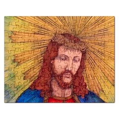 Sacred Heart Of Jesus Christ Drawing Rectangular Jigsaw Puzzl by KentChua