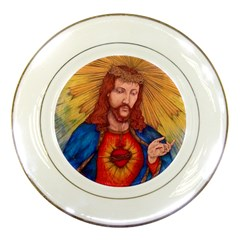 Sacred Heart Of Jesus Christ Drawing Porcelain Plates by KentChua
