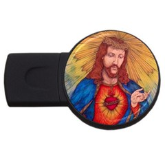 Sacred Heart Of Jesus Christ Drawing Usb Flash Drive Round (4 Gb)  by KentChua