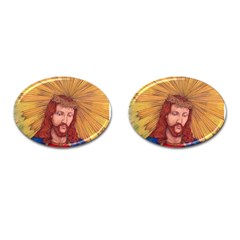 Sacred Heart Of Jesus Christ Drawing Cufflinks (oval) by KentChua