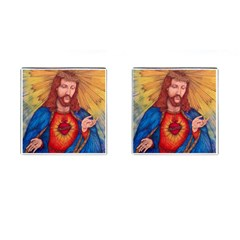 Sacred Heart Of Jesus Christ Drawing Cufflinks (square) by KentChua