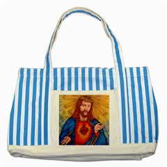 Sacred Heart Of Jesus Christ Drawing Striped Blue Tote Bag  by KentChua
