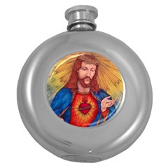 Sacred Heart Of Jesus Christ Drawing Round Hip Flask (5 Oz) by KentChua