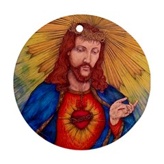 Sacred Heart Of Jesus Christ Drawing Round Ornament (two Sides)  by KentChua
