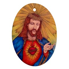 Sacred Heart Of Jesus Christ Drawing Oval Ornament (two Sides) by KentChua