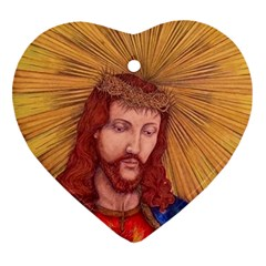 Sacred Heart Of Jesus Christ Drawing Heart Ornament (2 Sides) by KentChua