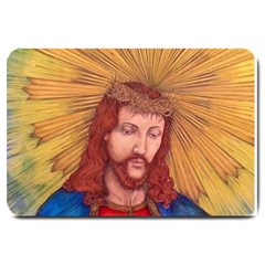 Sacred Heart Of Jesus Christ Drawing Large Doormat  by KentChua