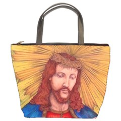Sacred Heart Of Jesus Christ Drawing Bucket Bags by KentChua
