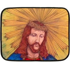 Sacred Heart Of Jesus Christ Drawing Fleece Blanket (mini) by KentChua