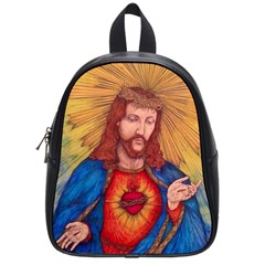 Sacred Heart Of Jesus Christ Drawing School Bags (small)  by KentChua
