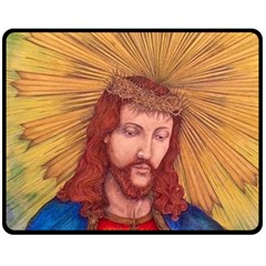 Sacred Heart Of Jesus Christ Drawing Fleece Blanket (medium)  by KentChua