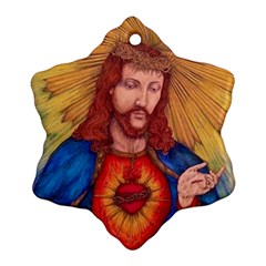 Sacred Heart Of Jesus Christ Drawing Snowflake Ornament (2 Side) by KentChua