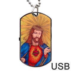 Sacred Heart Of Jesus Christ Drawing Dog Tag Usb Flash (two Sides)  by KentChua