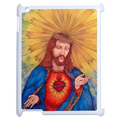 Sacred Heart Of Jesus Christ Drawing Apple Ipad 2 Case (white) by KentChua