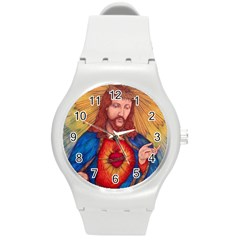 Sacred Heart Of Jesus Christ Drawing Round Plastic Sport Watch (m) by KentChua