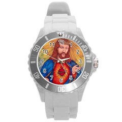 Sacred Heart Of Jesus Christ Drawing Round Plastic Sport Watch (l) by KentChua