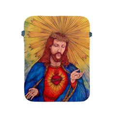 Sacred Heart Of Jesus Christ Drawing Apple Ipad 2/3/4 Protective Soft Cases by KentChua