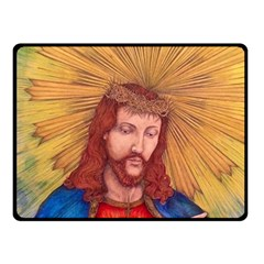 Sacred Heart Of Jesus Christ Drawing Double Sided Fleece Blanket (small)  by KentChua