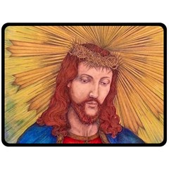 Sacred Heart Of Jesus Christ Drawing Double Sided Fleece Blanket (large)  by KentChua