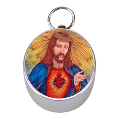 Sacred Heart Of Jesus Christ Drawing Mini Silver Compasses by KentChua