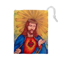 Sacred Heart Of Jesus Christ Drawing Drawstring Pouches (large)  by KentChua
