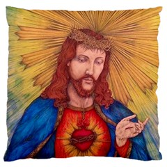 Sacred Heart Of Jesus Christ Drawing Standard Flano Cushion Cases (two Sides)  by KentChua